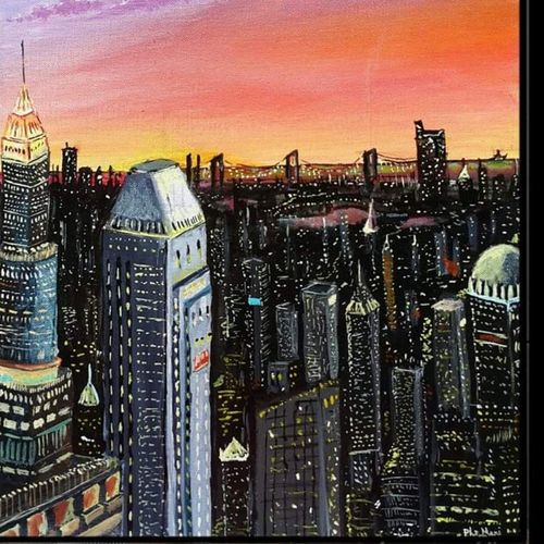 new york night skyline, 16 x 18 inch, mani  p h s,16x18inch,canvas board,paintings,cityscape paintings,realism paintings,paintings for dining room,paintings for living room,paintings for office,conceptual drawings,realism drawings,paintings for dining room,paintings for living room,paintings for office,acrylic color,GAL02422540233