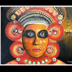 theyyam, 14 x 18 inch, mani  p h s,14x18inch,canvas board,paintings,folk art paintings,conceptual paintings,art deco paintings,expressionism paintings,realistic paintings,paintings for dining room,paintings for living room,paintings for bedroom,paintings for office,acrylic color,GAL02422540235