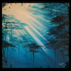 evening forest, 18 x 18 inch, mani  p h s,18x18inch,canvas,landscape paintings,nature paintings | scenery paintings,realistic paintings,paintings for dining room,paintings for living room,paintings for bedroom,paintings for office,paintings for dining room,paintings for living room,paintings for bedroom,paintings for office,acrylic color,GAL02422540236