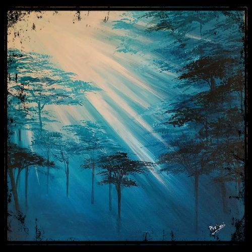 evening forest, 18 x 18 inch, mani  p h s,18x18inch,canvas,landscape paintings,nature paintings   scenery paintings,realistic paintings,paintings for dining room,paintings for living room,paintings for bedroom,paintings for office,paintings for dining room,paintings for living room,paintings for bedroom,paintings for office,acrylic color,GAL02422540236