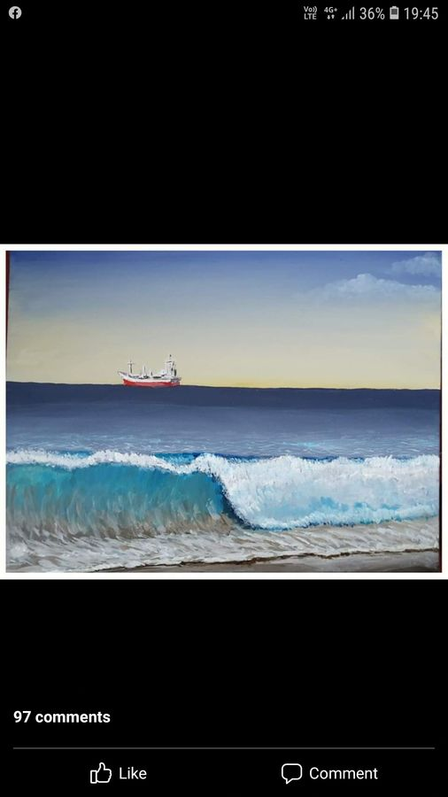 ship in sea, 14 x 18 inch, mani  p h s,14x18inch,canvas board,paintings,cityscape paintings,landscape paintings,realistic paintings,paintings for dining room,paintings for living room,paintings for bedroom,paintings for office,paintings for hotel,acrylic color,GAL02422540238