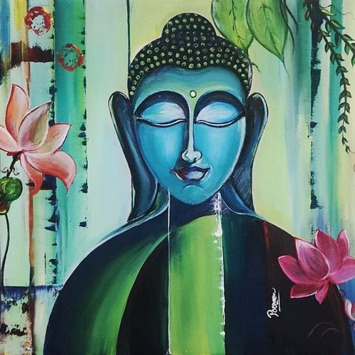 the buddha, 24 x 30 inch, poonam agarwal agarwal,24x30inch,canvas,paintings,buddha paintings,paintings for dining room,paintings for living room,paintings for bedroom,paintings for office,paintings for hotel,paintings for kitchen,paintings for school,paintings for hospital,acrylic color,GAL02098140240