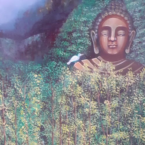 lord buddha, 18 x 23 inch, vanadev  athor,18x23inch,canvas,paintings,buddha paintings,paintings for dining room,paintings for living room,paintings for bedroom,paintings for office,paintings for hotel,paintings for school,paintings for hospital,oil color,GAL0436340252