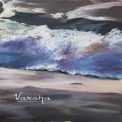 waves, 24 x 18 inch, varsha sirsi,24x18inch,canvas board,paintings,landscape paintings,oil color,GAL02853340271