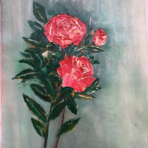 rose knife oil painting , 13 x 18 inch, dipal rathod,13x18inch,canvas,paintings,abstract paintings,flower paintings,modern art paintings,conceptual paintings,paintings for dining room,paintings for living room,paintings for bedroom,paintings for office,paintings for hotel,paintings for kitchen,paintings for school,paintings for hospital,oil color,GAL02852840279