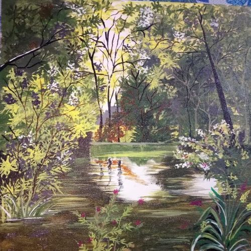 jungle lake, 12 x 12 inch, chandrani das,12x12inch,canvas,paintings,nature paintings | scenery paintings,paintings for dining room,paintings for living room,paintings for bedroom,paintings for office,paintings for bathroom,paintings for kids room,paintings for hotel,paintings for kitchen,paintings for school,paintings for hospital,acrylic color,GAL01316940283