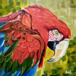 macaw bird face oil painting , 12 x 12 inch, dipal rathod,12x12inch,canvas board,paintings,wildlife paintings,modern art paintings,conceptual paintings,art deco paintings,children paintings,kids paintings,paintings for dining room,paintings for living room,paintings for bedroom,paintings for office,paintings for hotel,paintings for school,paintings for hospital,oil color,GAL02852840285