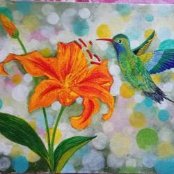 hummingbird with flower, 16 x 12 inch, chandrani das,16x12inch,canvas,paintings,wildlife paintings,flower paintings,paintings for dining room,paintings for living room,paintings for bedroom,paintings for office,paintings for bathroom,paintings for kids room,paintings for hotel,paintings for kitchen,paintings for school,paintings for hospital,acrylic color,GAL01316940286