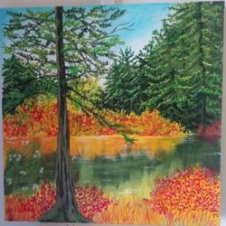 lake view, 12 x 12 inch, chandrani das,12x12inch,canvas,paintings,nature paintings | scenery paintings,paintings for dining room,paintings for living room,paintings for bedroom,paintings for office,paintings for bathroom,paintings for kids room,paintings for hotel,paintings for kitchen,paintings for school,paintings for hospital,acrylic color,GAL01316940287