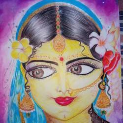 radharani, 8 x 12 inch, chandrani das,8x12inch,thick paper,paintings,radha krishna paintings,paintings for dining room,paintings for living room,paintings for bedroom,paintings for office,paintings for bathroom,paintings for kids room,paintings for hotel,paintings for kitchen,paintings for school,paintings for hospital,acrylic color,GAL01316940290