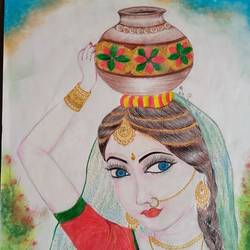 village girl, 8 x 12 inch, chandrani das,8x12inch,thick paper,paintings,portrait paintings,paintings for dining room,paintings for living room,paintings for bedroom,paintings for office,paintings for bathroom,paintings for kids room,paintings for hotel,paintings for kitchen,paintings for school,paintings for hospital,pencil color,GAL01316940293
