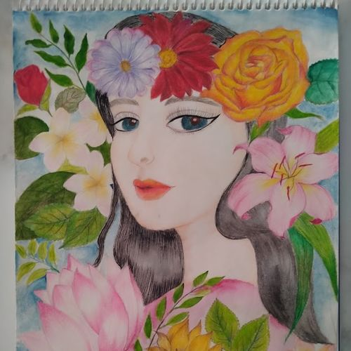beautiful girl with flower, 8 x 12 inch, chandrani das,8x12inch,thick paper,paintings,portrait paintings,paintings for dining room,paintings for living room,paintings for bedroom,paintings for office,paintings for bathroom,paintings for kids room,paintings for hotel,paintings for kitchen,paintings for school,paintings for hospital,pencil color,GAL01316940294