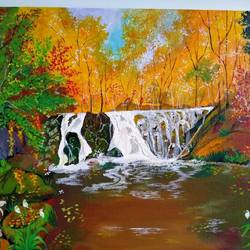 jungly waterfall, 16 x 12 inch, chandrani das,16x12inch,canvas,paintings,landscape paintings,nature paintings | scenery paintings,paintings for dining room,paintings for living room,paintings for bedroom,paintings for office,paintings for bathroom,paintings for kids room,paintings for hotel,paintings for kitchen,paintings for school,paintings for hospital,acrylic color,GAL01316940295