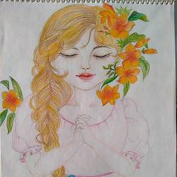 beautiful girl with flower, 8 x 12 inch, chandrani das,8x12inch,thick paper,paintings,portrait paintings,paintings for dining room,paintings for living room,paintings for bedroom,paintings for office,paintings for bathroom,paintings for kids room,paintings for hotel,paintings for kitchen,paintings for school,paintings for hospital,pencil color,GAL01316940296