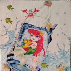 baby mermaid in a bottle, 8 x 12 inch, chandrani das,8x12inch,thick paper,paintings,children paintings,kids paintings,paintings for dining room,paintings for living room,paintings for bedroom,paintings for bathroom,paintings for kids room,paintings for hotel,paintings for kitchen,paintings for school,paintings for hospital,pencil color,watercolor,GAL01316940297
