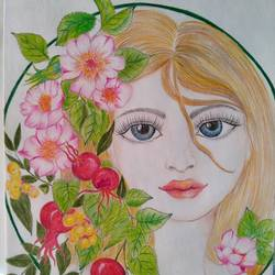 beautiful girl with flower, 8 x 12 inch, chandrani das,8x12inch,thick paper,paintings,portrait paintings,paintings for dining room,paintings for living room,paintings for bedroom,paintings for office,paintings for bathroom,paintings for kids room,paintings for hotel,paintings for kitchen,paintings for school,paintings for hospital,pencil color,GAL01316940299