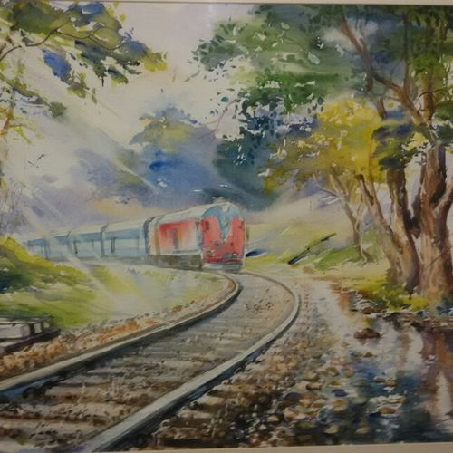 the train , 15 x 22 inch, sushil  tarbar ,landscape paintings,paintings for dining room,fabriano sheet,watercolor,15x22inch,GAL0144403