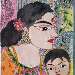 madhubani art, 8 x 12 inch, chandrani das,8x12inch,rice paper,paintings,madhubani paintings | madhubani art,paintings for dining room,paintings for living room,paintings for bedroom,paintings for office,paintings for bathroom,paintings for kids room,paintings for hotel,paintings for kitchen,paintings for school,paintings for hospital,pen color,watercolor,GAL01316940300