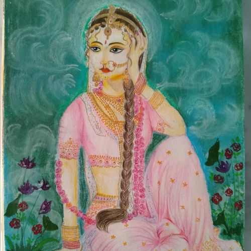 radharani, 8 x 12 inch, chandrani das,8x12inch,thick paper,paintings,radha krishna paintings,paintings for dining room,paintings for living room,paintings for bedroom,paintings for office,paintings for bathroom,paintings for kids room,paintings for hotel,paintings for kitchen,paintings for school,paintings for hospital,acrylic color,pastel color,pencil color,GAL01316940301