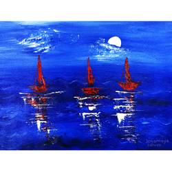 moonlight sail boats, 16 x 12 inch, jogamaya mishra,16x12inch,canvas,paintings,abstract paintings,landscape paintings,modern art paintings,conceptual paintings,abstract expressionism paintings,impressionist paintings,contemporary paintings,paintings for dining room,paintings for living room,paintings for bedroom,paintings for hotel,acrylic color,GAL02835340309