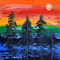 pine trees sunset view abstract, 6 x 8 inch, jogamaya mishra,6x8inch,canvas,paintings,abstract paintings,landscape paintings,modern art paintings,conceptual paintings,nature paintings | scenery paintings,abstract expressionism paintings,art deco paintings,expressionism paintings,impressionist paintings,contemporary paintings,paintings for dining room,paintings for living room,paintings for bedroom,paintings for office,paintings for hotel,paintings for school,paintings for hospital,acrylic color,GAL02835340317