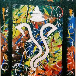 lord ganesha , 14 x 16 inch, vishakha meena,14x16inch,canvas,paintings,abstract paintings,religious paintings,paintings for dining room,paintings for living room,paintings for school,paintings for hospital,paintings for dining room,paintings for living room,paintings for school,paintings for hospital,acrylic color,GAL02825040322