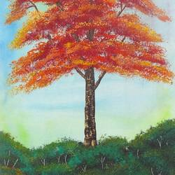 a peacceful tree (sa101), 10 x 20 inch, sijo joseph,landscape paintings,paintings for living room,nature paintings,canvas,oil,10x20inch,GAL014234033Nature,environment,Beauty,scenery,greenery
