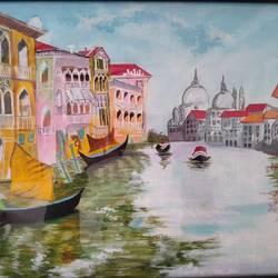 venice, 16 x 12 inch, chandrani das,16x12inch,canvas,paintings,cityscape paintings,landscape paintings,paintings for dining room,paintings for living room,paintings for bedroom,paintings for office,paintings for bathroom,paintings for kids room,paintings for hotel,paintings for kitchen,paintings for school,paintings for hospital,acrylic color,GAL01316940337