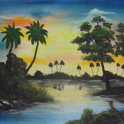 lake in a cloudy evening (sa102), 20 x 15 inch, sijo joseph,nature paintings,paintings for living room,canvas,oil,20x15inch,GAL014234034Nature,environment,Beauty,scenery,greenery,coconut tree,evening,leaves,trees,sunset,water,lake