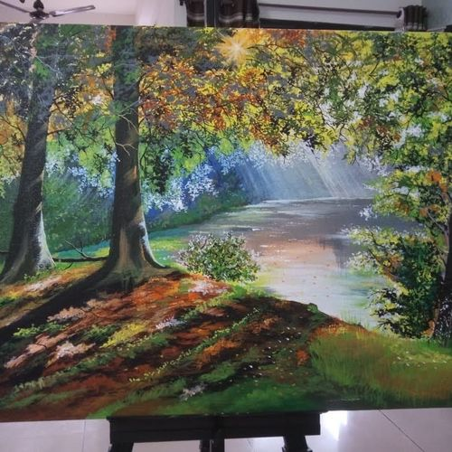 jungle lake, 24 x 18 inch, chandrani das,24x18inch,canvas,paintings,nature paintings | scenery paintings,paintings for dining room,paintings for living room,paintings for bedroom,paintings for office,paintings for bathroom,paintings for kids room,paintings for hotel,paintings for kitchen,paintings for school,paintings for hospital,acrylic color,GAL01316940340