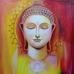 buddha, 30 x 30 inch, shaily mahor,30x30inch,canvas,paintings,religious paintings,paintings for living room,paintings for hotel,oil color,GAL0655240344