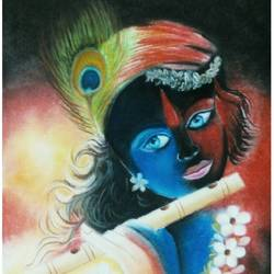the lord krishna, 12 x 16 inch, shaily mahor,12x16inch,ivory sheet,fine art drawings,pastel color,GAL0655240345