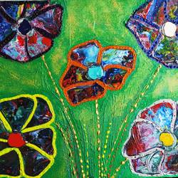 flower power in acrylic pour paint, 18 x 24 inch, aditi chaturvedi,18x24inch,canvas,flower paintings,paintings for dining room,paintings for dining room,acrylic color,GAL02855240349