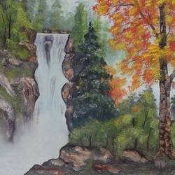 a waterfall view (sa103), 20 x 14 inch, sijo joseph,landscape paintings,paintings for living room,canvas,oil,20x14inch,GAL014234035