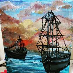 the sailors, 8 x 12 inch, shruti shinde,8x12inch,canvas,paintings,illustration paintings,acrylic color,GAL0355740354
