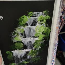 the waterfall, 8 x 12 inch, shruti shinde,8x12inch,thick paper,paintings,landscape paintings,acrylic color,GAL0355740356