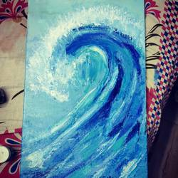 the wave, 8 x 36 inch, shruti shinde,8x36inch,canvas,paintings,realistic paintings,paintings for living room,acrylic color,GAL0355740357