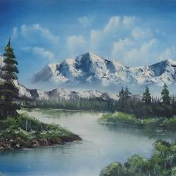 somewhere in a snowy mountain (sa104), 20 x 14 inch, sijo joseph,landscape paintings,paintings for living room,canvas,oil,20x14inch,GAL014234036
