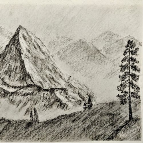 snowcapped mountains, 11 x 8 inch, nameesh rajamane,11x8inch,thick paper,drawings,portrait drawings,paintings for dining room,paintings for living room,paintings for bedroom,paintings for office,paintings for kids room,paintings for hotel,paintings for kitchen,paintings for school,paintings for hospital,charcoal,graphite pencil,paper,GAL02418840360