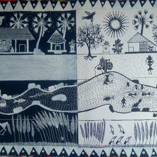 warli art, 29 x 12 inch, srimonti dutta,29x12inch,thick paper,paintings,figurative paintings,folk art paintings,landscape paintings,nature paintings | scenery paintings,warli paintings,paintings for dining room,paintings for living room,paintings for bedroom,paintings for hotel,paintings for school,paintings for hospital,paintings for dining room,paintings for living room,paintings for bedroom,paintings for hotel,paintings for school,paintings for hospital,acrylic color,pen color,GAL02833840375
