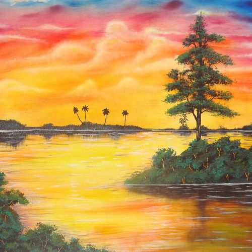 a peaceful evening (sa106), 30 x 20 inch, sijo joseph,landscape paintings,paintings for living room,canvas,oil,30x20inch,GAL014234038