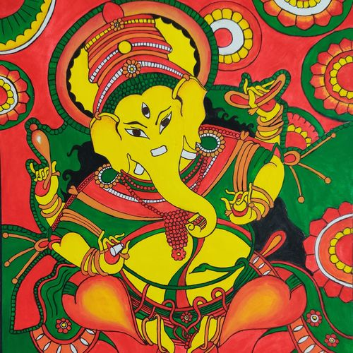 lord ganesha, 11 x 13 inch, dr. brinda c,11x13inch,drawing paper,paintings,figurative paintings,religious paintings,ganesha paintings   lord ganesh paintings,kerala murals painting,paintings for living room,paintings for bedroom,paintings for office,paintings for hotel,poster color,paper,GAL01371540382