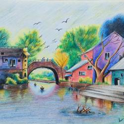 a village with river, 13 x 11 inch, dr. brinda c,13x11inch,drawing paper,paintings,landscape paintings,nature paintings | scenery paintings,art deco paintings,paintings for dining room,paintings for living room,paintings for bedroom,paintings for office,paintings for kids room,paintings for hotel,paintings for school,pencil color,paper,GAL01371540387