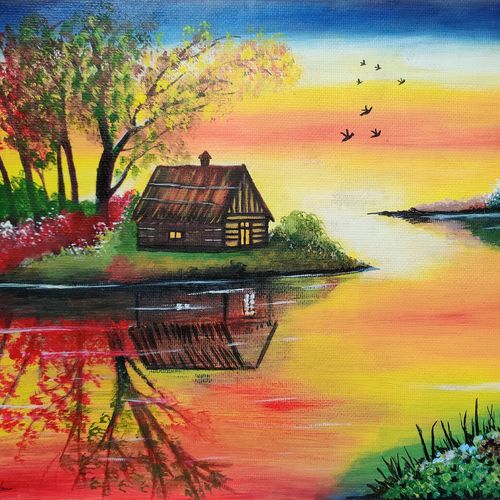 the reflection, 15 x 11 inch, dr. brinda c,15x11inch,thick paper,paintings,landscape paintings,nature paintings   scenery paintings,art deco paintings,paintings for dining room,paintings for living room,paintings for bedroom,paintings for office,paintings for hotel,acrylic color,GAL01371540388