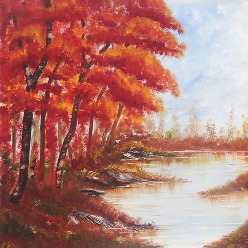 an yellow forest (sa107), 30 x 20 inch, sijo joseph,landscape paintings,paintings for living room,canvas,oil,30x20inch,GAL014234039