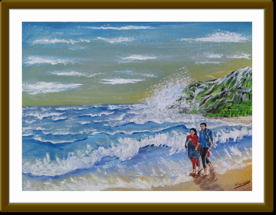 Buy Couple Walk At Seascape Beach Painting At Lowest Price By Sameeulla Shaik