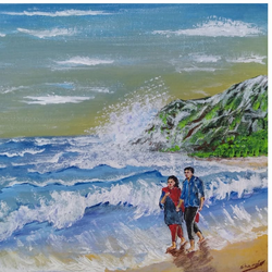 couple walk at seascape beach, 16 x 12 inch, sameeulla shaik,16x12inch,canvas,paintings,landscape paintings,paintings for dining room,paintings for living room,paintings for bedroom,paintings for office,paintings for hotel,acrylic color,GAL02859640390