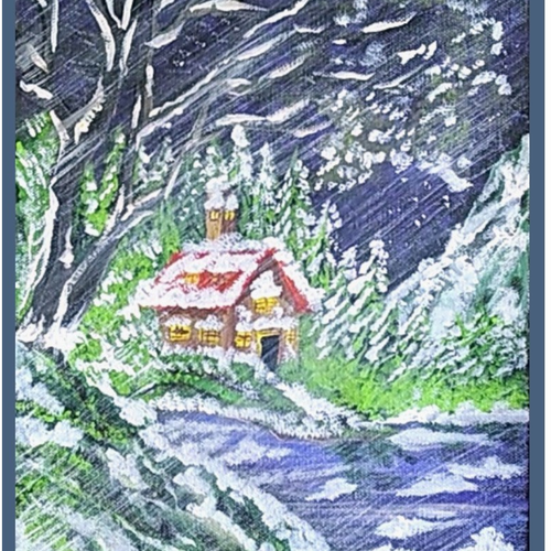 winter day snowfall 1, 10 x 12 inch, sameeulla shaik,10x12inch,canvas,paintings,landscape paintings,paintings for dining room,paintings for living room,paintings for bedroom,paintings for office,paintings for school,acrylic color,GAL02859640391