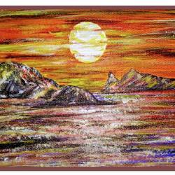beautiful sunset 1, 10 x 6 inch, sameeulla shaik,10x6inch,canvas,paintings,landscape paintings,paintings for dining room,paintings for living room,paintings for bedroom,paintings for office,paintings for kids room,paintings for hotel,acrylic color,GAL02859640396