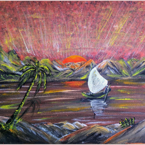 beautiful sunset 2, 12 x 10 inch, sameeulla shaik,12x10inch,canvas,paintings,landscape paintings,paintings for dining room,paintings for living room,paintings for bedroom,paintings for office,paintings for kids room,paintings for hotel,paintings for school,acrylic color,GAL02859640397